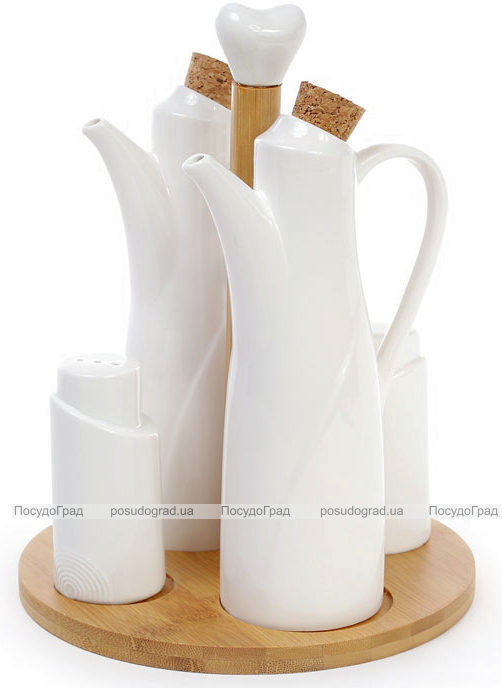 Набор для специй Ceram-Bamboo графины для масла и уксуса, солонка и перечница на подставке
