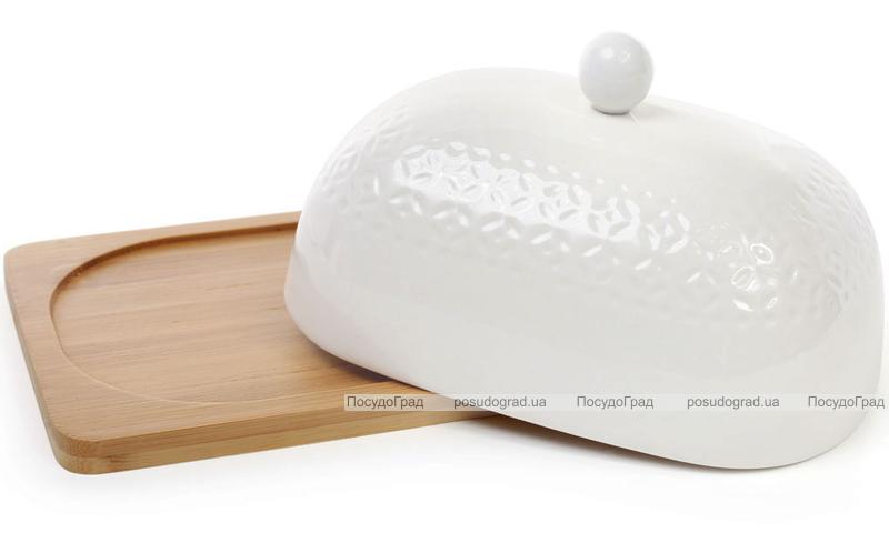 Масленка Ceram-Bamboo фарфоровая с бамбуковым блюдцем 20х14см