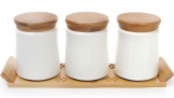 Набір банок Ceram-Bamboo 550мл для сипучих на дерев'яній підставці