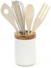 Стакан для кухонных аксессуаров Ceram-Bamboo Ø9см с набором деревянных лопаток и венчик (Naturel)