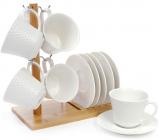 Набір 6 чашок Ceram-Bamboo 180мл з блюдцями на дерев'яній підставці