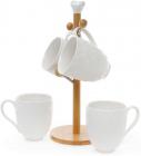 """Чайний набір Ceram-Bamboo """"Ромб"""" 4 кружки 340мл на дерев'яній підставці"""