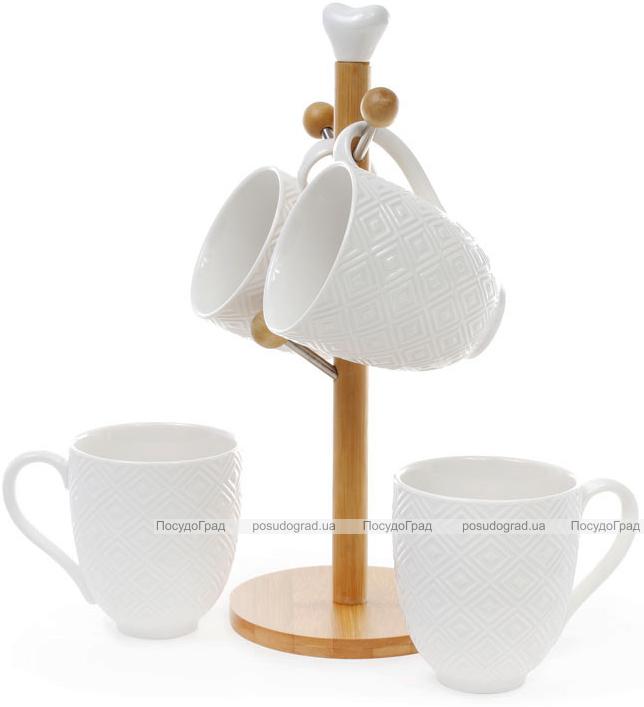 """Чайный набор Ceram-Bamboo """"Ромб"""" 4 кружки 340мл на деревянной подставке"""