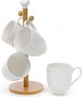 """Чайный набор Ceram-Bamboo """"Орнамент"""" 4 кружки 340мл на деревянной подставке"""