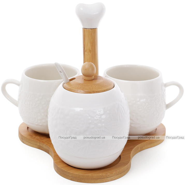 """Чайный набор Ceram Bamboo """"Цветы"""" 2 чашки по 250мл и сахарница 400мл на подставке"""