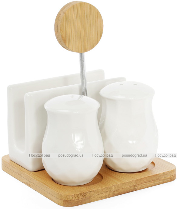 Набор спецовников Ceram-Bamboo-280 соль/перец с подставкой для салфеток