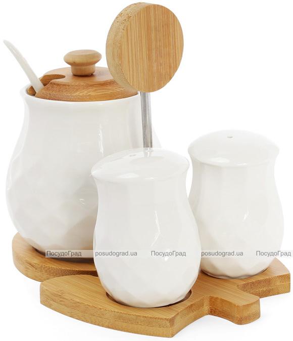 Спецовники сервировочные Ceram-Bamboo 17х12х14см с сахарницей на бамбуковой подставке