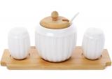 """Набір для спецій Ceram Bamboo """"Смужки"""", сільничка, перечниця та цукорниця на бамбуковій підставці"""