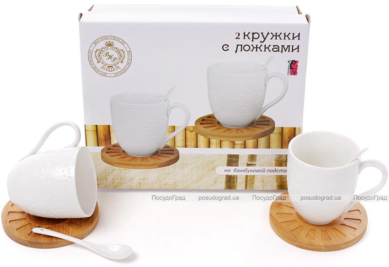 """Набор кружек для чая Ceram Bamboo """"Кружево"""", 2 кружки по 350мл на бамбуковых костерах (подставках)"""