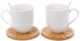"""Набір кухлів для чаю Ceram Bamboo """"Мереживо"""", 2 кружки по 350мл на бамбукових костерах (підставках)"""