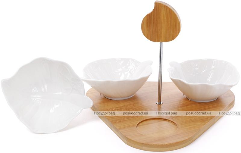 """Набор соусников для сервировки Ceram Bamboo """"Листики"""" 3 соусника по 150мл на подставке"""