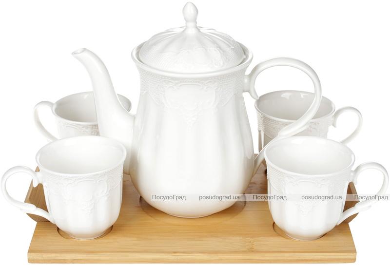 """Набор кофейный Ceram-Bamboo """"Кружево"""" 4 чашки 175мл, заварник 900мл на подставке"""