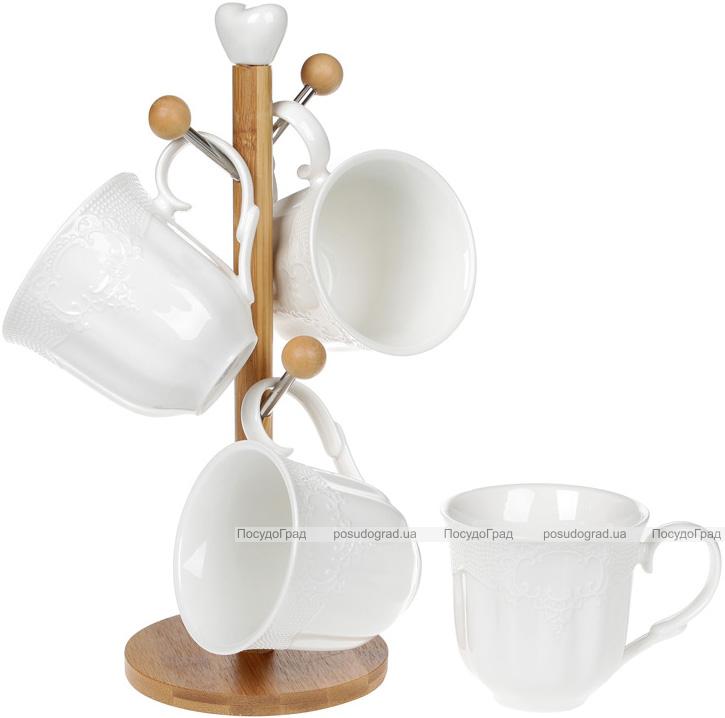 """Чайный набор Ceram-Bamboo """"Кружево"""" 4 кружки 330мл на деревянной стойке"""
