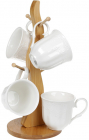 """Кофейный набор Ceram-Bamboo """"Кружево"""" 4 кружки 175мл на деревянной стойке"""