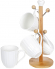 Набір чашок Nouvelle Home Смуги 320мл на бамбуковій стійці
