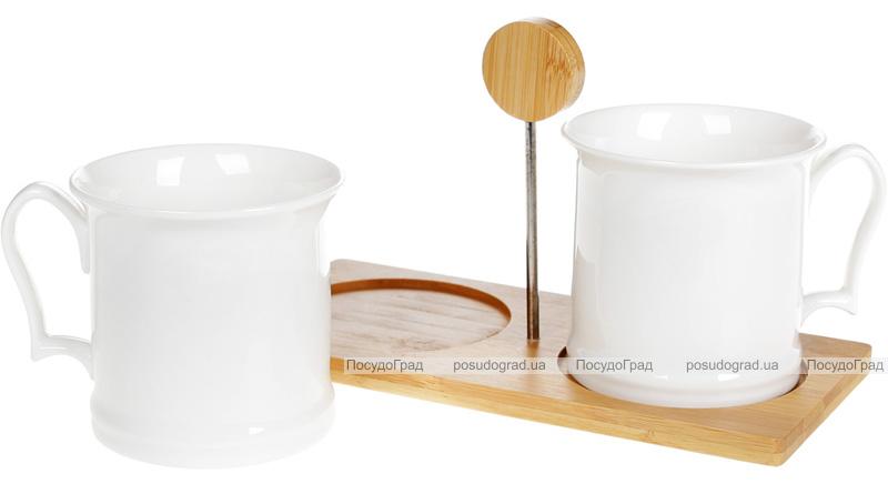 Набір чашок Nouvelle Home Смуги 2 кружки 400мл на бамбуковій підставці