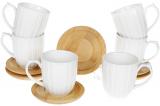 Набір 6 чашок Nouvelle Home Смуги 150мл з бамбуковими блюдцями (багаття)