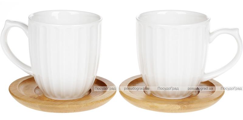 Набор 2 кружки Nouvelle Home Полосы 150мл с бамбуковыми блюдцами (костерами)