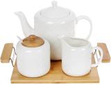 Набір для чаю Nouvelle Home Blanca чайник, молочник і цукорниця на підносі