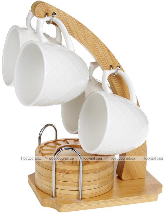 Набор 4 кружки Nouvelle Home Blanca 160мл с бамбуковыми блюдцами (костерами) на стойке
