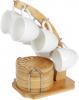 Набор 6 кружек Nouvelle Home Blanca 90мл с бамбуковыми блюдцами (костерами) на стойке