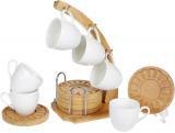Набір 6 чашок Nouvelle Home Blanca 90мл з бамбуковими блюдцями (костерами) на стійці
