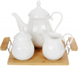 Набор для чая Nouvelle Home Тиснение чайник, молочник и сахарница на подносе