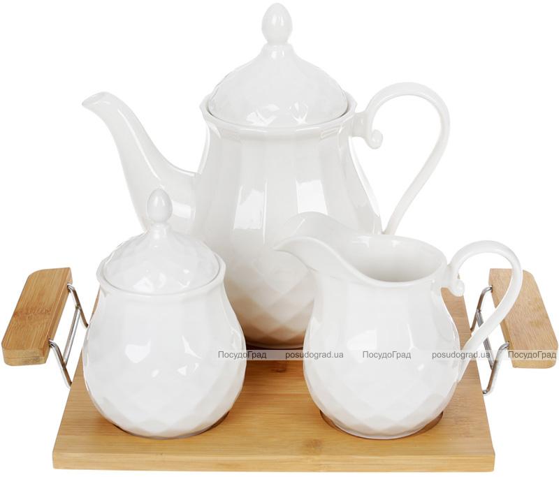 Набір для чаю Nouvelle Home Тиснення чайник, молочник і цукорниця на підносі