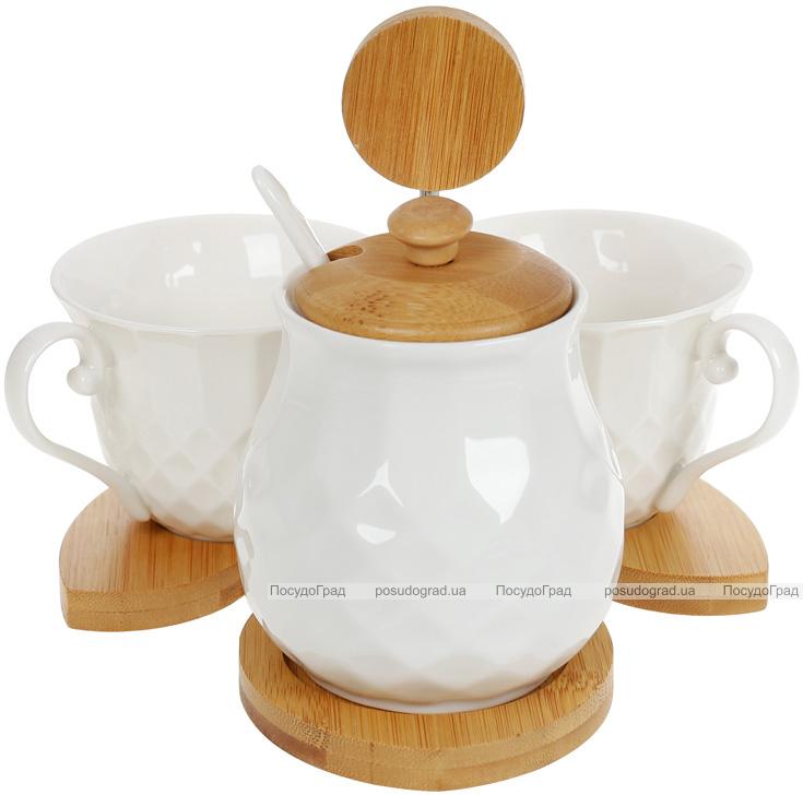 Набір для кави Nouvelle Home Тиснення цукорниця і дві кружки 150мл на підставці