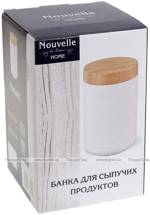 Банка фарфоровая Nouvelle Home Кружево 900мл с бамбуковой крышкой