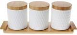 Набор банок Ceram-Bamboo 550мл для сыпучих на деревянной подставке (289-337)