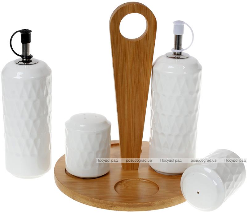 Набір для спецій Nouvelle Home Blob 4 предмети: олія/оцет, сіль/перець на підставці