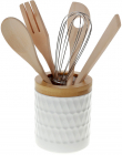 Набор кухонных аксессуаров Nouvelle Home Blob, 5 предметов в фарфоровой подставке
