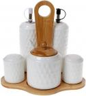 Набір для спецій Nouvelle Home Blob: олія/оцет, сіль/перець +цукорниця, на підставці