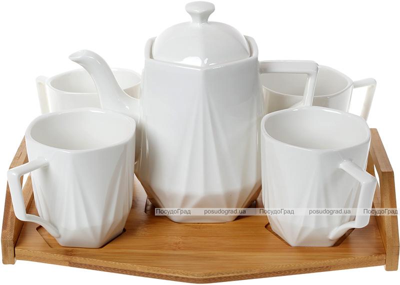 Чайний набір Nouvelle Home Coutle чайник 900мл і 4 кружки 320мл на підносі