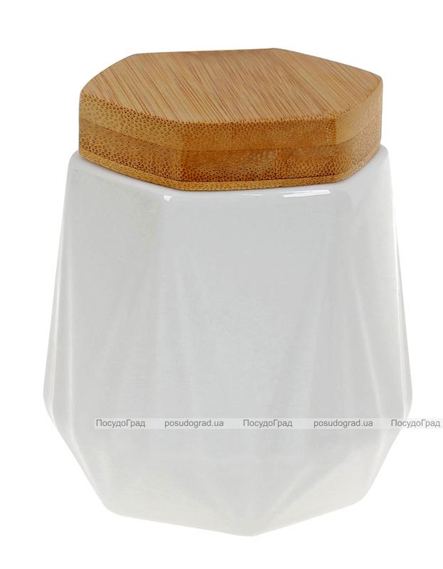 Банка порцелянова Nouvelle Home Coutle 330мл з бамбуковою кришкою
