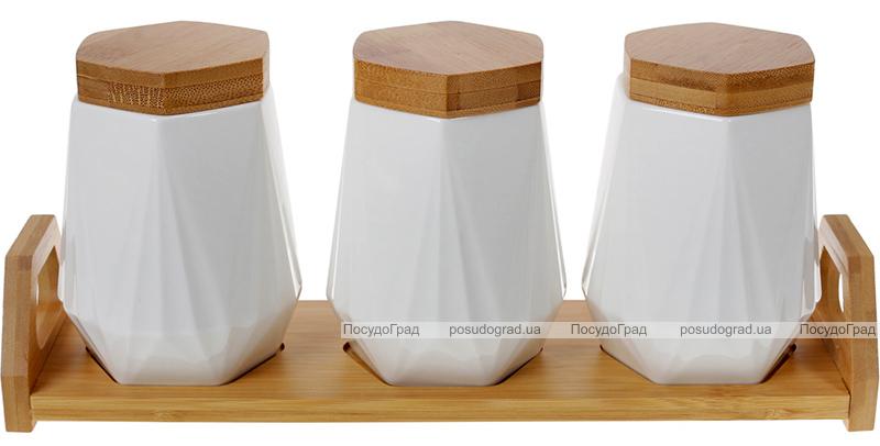 Набір банок для спецій Nouvelle Home Coutle 3 банки 450мл на підставці
