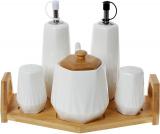 Набор для специй Nouvelle Home Coutle: масло/уксус, соль/перец + сахарница, на подставке