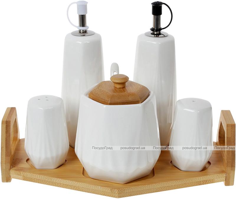 Набір для спецій Nouvelle Home Coutle: олія/оцет, сіль/перець +цукорниця, на підставці