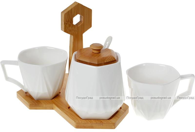 Кавовий набір Nouvelle Home Coutle 2 чашки 170мл і цукорниця 330мл на підставці