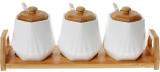 Набор банок для специй Nouvelle Home Coutle 3 банки 330мл с ложками на подставке
