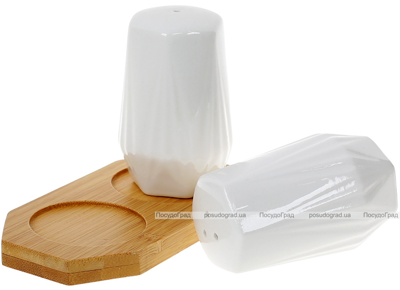 Набор для специй Nouvelle Home Coutle 13х6.5х8.5см, фарфор с бамбуком