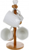 Набор 4 кружки Nouvelle Home Coutle 300мл на бамбуковой стойке