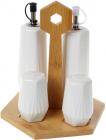 Набір для спецій Nouvelle Home Coutle 4 предмети: олія/оцет, сіль/перець на підставці
