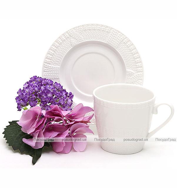 """Чайная пара """"Вязаный узор"""", фарфоровые чашка 250мл с блюдцем"""