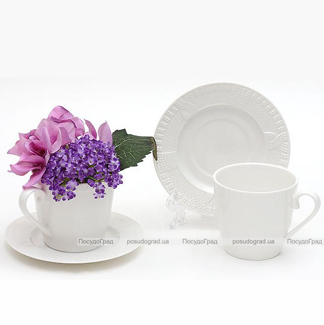 """Чайный набор """"Вязаный узор"""", фарфоровые 2 чашки 250мл с блюдцами"""