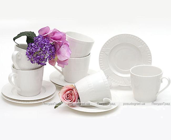 """Чайный набор """"Вязаный узор"""", фарфоровые 6 чашек 250мл с блюдцами"""