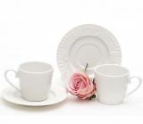 """Кофейный набор """"Вязаный узор"""", фарфоровые 2 чашки 90мл с блюдцами"""