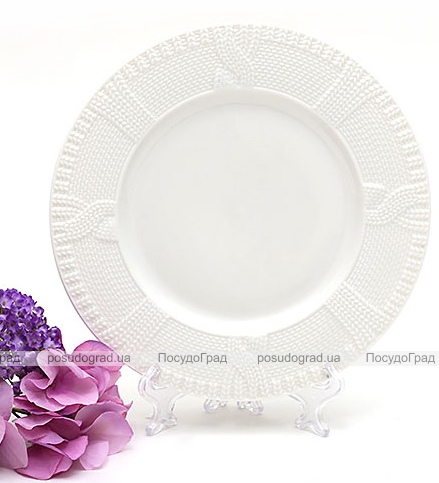"""Набор 6 десертных тарелок """"Вязаный узор"""" Ø20см, фарфор"""