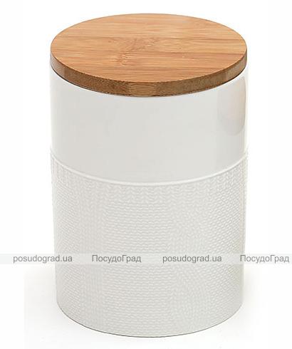 """Банка """"Вязаный узор"""" для сыпучих продуктов 950мл с бамбуковой крышкой"""